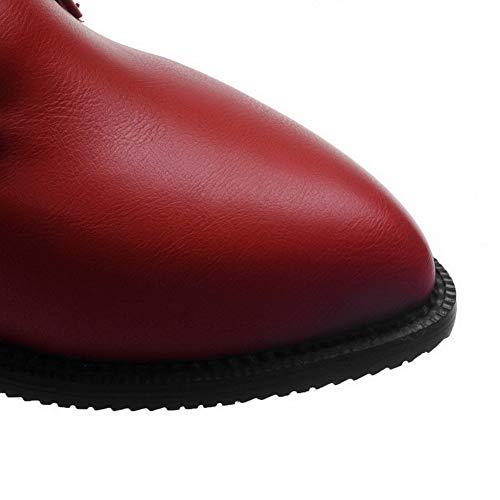 Donna Tacco Ballet Puro GMMDB006027 AgooLar Flats Allacciare Luccichio Rosso Medio RdWCp