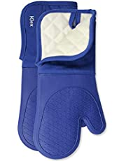 KLEX 1 Pair Extra Long Silicone and Cotton Oven Mitt for Oven Cooking, Baking and Grilling, Up to 600 Degrees Heat Resistance, Poly Fleece Quilted Lining, 15 inches