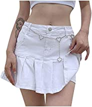 VBNG Women's Casual Slim A-line Pleated Ruffle Short Mini Denim Sk
