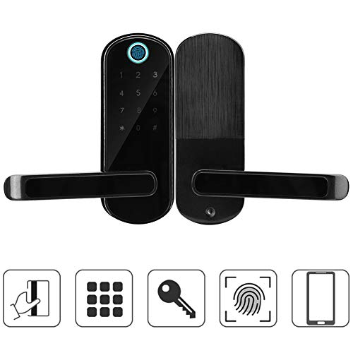 Digital Door Lock Bluetooth Smart Lock Fingerprint/Touch Keyboard/Card/Mechanical Key Support APP Remote Control with 2 Card 2 Mechanical Key for Android/iOS