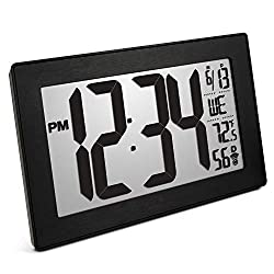 Marathon CL030068BK-BS Slim Panoramic Atomic Wall Clock with Table Stand - Batteries Included. Color-Black Frame/Black Stainless Finish (Renewed)