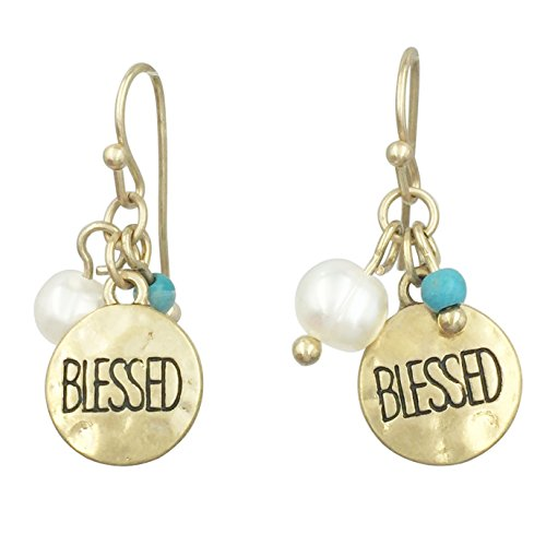 Trendy Small Hammered Disk Boutique Style Dangle Earrings (Dainty Gold Tone Blessed Double Bead)