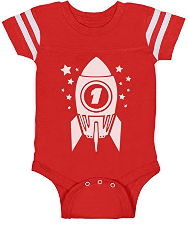 TeeStars - 1st Birthday Space Rocket One Year Old Cute Baby Jersey Bodysuit 12M Red