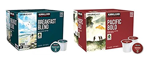 Kirkland Signature Breakfast Blend & Pacific Bold K-cup Bundle - Includes Kirkland Signature Breakfast Blend K-cup, 120 Count & Pacific Bold K-cup, 120 Count by Kirkland Signature