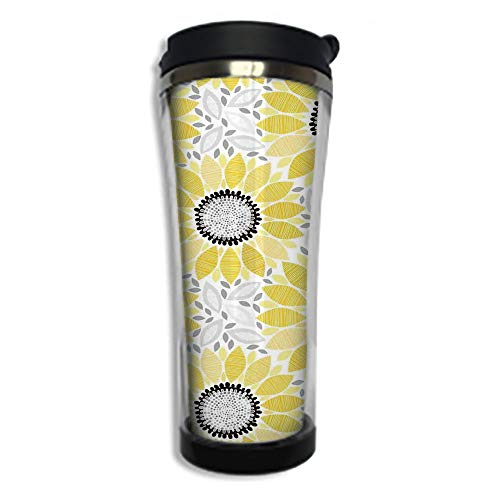 Travel Coffee Mug 3D Printed Portable Vacuum Cup,Insulated Tea Cup Water Bottle Tumblers for Drinking with Lid 14.2oz(420 ml)by,Yellow,Sunflower with Leaves and Petals Pattern Spring Summer Floral Nat