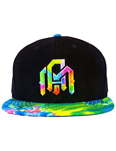 INTO THE AM Adjustable Snapback Cap with Tie Dye Flat Brim (Halloween Parties In Los Angeles 2017)