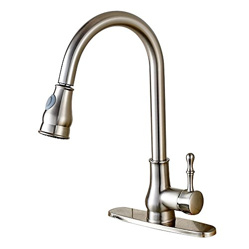 Votamuta Best Commercial Stainless Steel Single Lever 1 Or 2 Or 3 Hole Brushed Nickel Pull Out Kitchen Sink Faucet, Antique Style Touch Bar Faucet