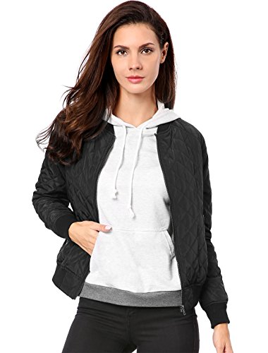 Allegra K Women's Raglan Long Sleeves Quilted Zip Up Bomber Jacket Black M (US 10) (Best Quilted Jacket Womens)