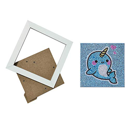Sole Rubber Stitch (ReFaXi DIY Diamond Painting Accessories Full kit Cartoon Cute Animal Shaped Embroidery Drill Art Tool Children Drawing 15x15cm (Narwhal,with Frame))