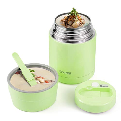 Insulated Lunch Container Thermos Food Jar for Hot Food Wide Mouth 27 oz with Folding Spoon & Handle Food Storage Soup Container ZTXPRO Leak Proof for Kids School Picnic Office Outdoors- Green
