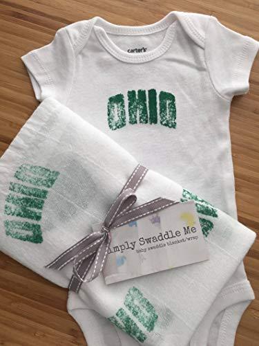 Onesie Ohio Cotton (Ohio University - Baby Gift Set - Swaddle Blanket - Onesie - Custom Designs - Green - HandStamped - Vintage Inspired)