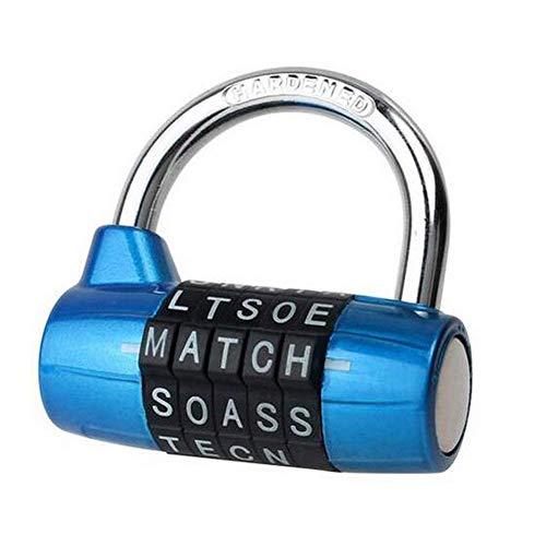 5 dial Combination Padlock, Black 5 Letter Lock Password Lock Large Gym Locker Locker Room Props Padlock Word Lock 5 dial Combination Padlock(Blue)