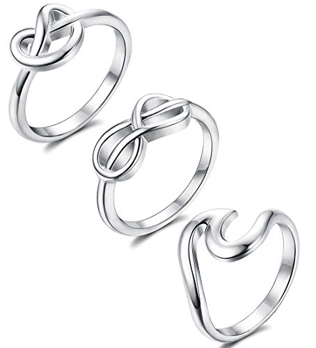 Adramata 925 Sterling Silver Rings for Women Girls' Simple Unique Wave Knot Infinity Engagement Ring Set Size 4-9