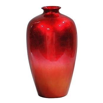 Heather Ann Creations Ruth Ceramic Decorative Water Jar Floor Vase, Red