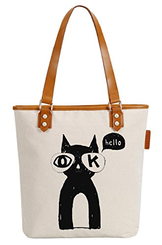 So'each Women's Ok Hello Cat Canvas Tote Pearly Top Handle Shoulder Bag