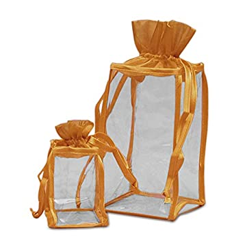 Amazon.com: Oro Organza y bolsas de vinilo transparente ...