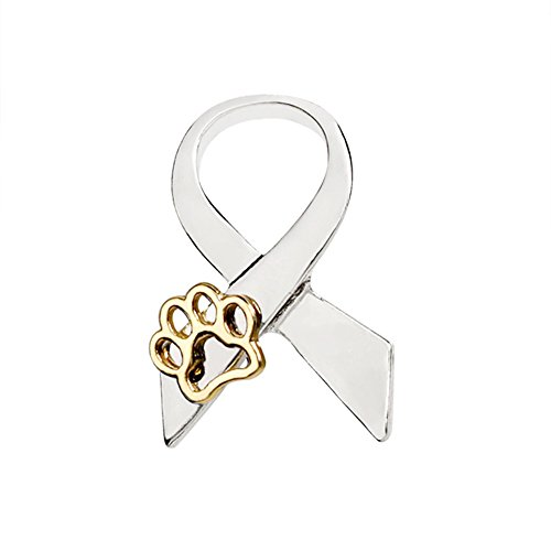 Gold Ribbon Brooch (Gold Silver Ribbon Hollow Paw Brooch Bow Tie Dog Cat Claw Pin Badge Pet Memorial Jewelry for Women (silver))