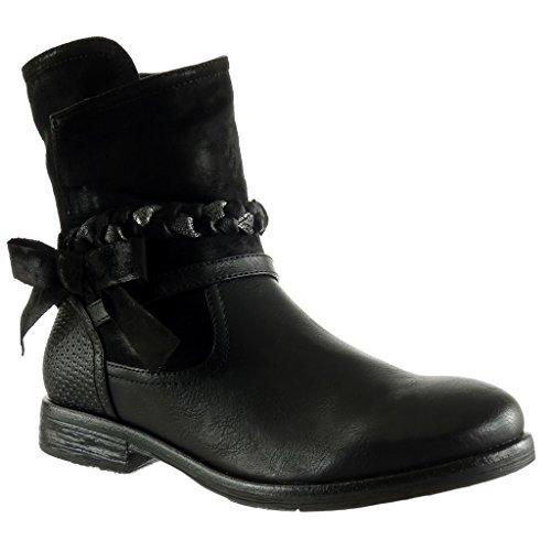 Angkorly - damen Schuhe Stiefeletten - Biker - Reitstiefel - Kavalier - vintage-stil - Geflochten - String Tanga - Knoten Blockabsatz 3 CM Schwarz