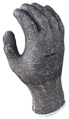 SHOWA Best® Glove Size 7 SHOWA® 541 13 Gauge Cut Resistant Gray Polyurethane Dipped Palm Coated Work Gloves With Light Gray Seamless Dyneema® And High Performance Polyethylene Knit Liner And Elastic Wrist (Gloves Dyneema Palm Coated)