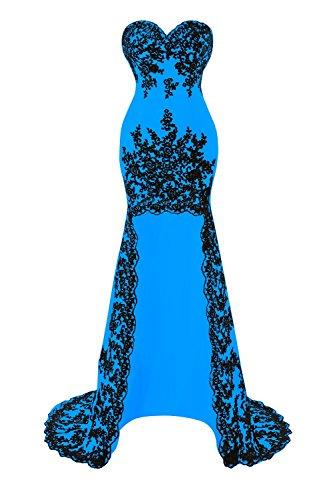 Les Appliques De Dentelle Bess Femmes De Mariée Haute Robes Bas Parti De Bal Bleu Océan