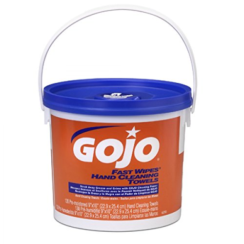 (GOJO Industries 6298-04 GOJO Bucket White Fast Wipes Pleasant Orange Scented Multi-Purpose Towels, Plastic, 15.9