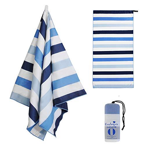 Exclusivo Mezcla Microfiber Quick Dry Beach Towel, Swim/Pool/Bath/Sports Towel (Cabana Striped Blue, 30