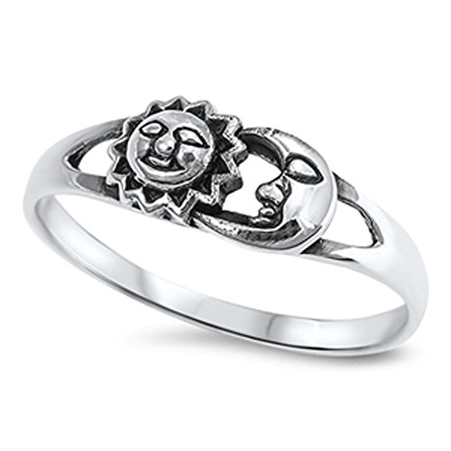 Sun Moon Universe Space Fashion Ring New .925 Sterling Silver Band Size...