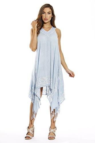 21641-LTDENIM-L Riviera Sun Dress / Dresses for Women,Light Denim,Large