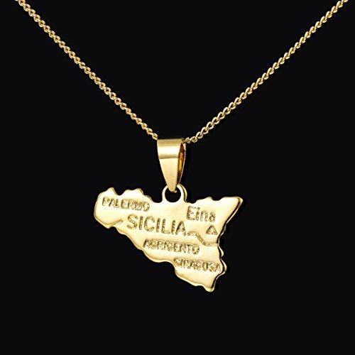 Sicily Italy island map necklace pendant gold necklace pendant plated 18koriginal single copper jewelry Costume jewelery