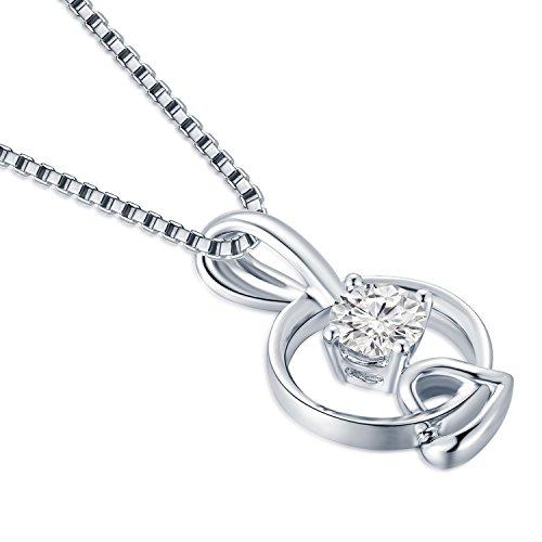 Or blanc 18ct 750avec diamant Cercle Bague avec pendentif en forme de cœur en argent sterling 925Chaîne 40,6cm/40cm (0,21CT, G-H Couleur, Vs2-si1Clarté) Femme Bijoux Cadeau