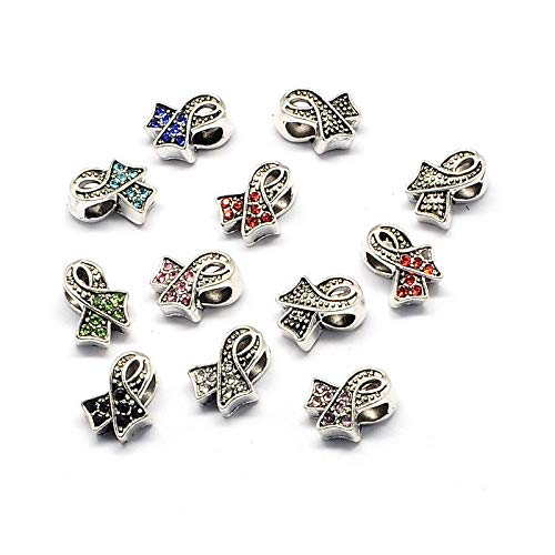 50x Awareness Ribbon Alloy Pave Rhinestone European Beads Large Hole Charms 13mm