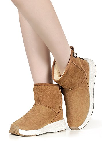 Full Women's Sheepskin Snow Fur Suede Winter Chestnut amp;MU Boots AU 4 xgwqB5E41W
