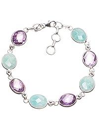 "StarGems(tm) Natural Blue Aquamarine and Amethyst Handmade Boho 925 Sterling Silver Bracelet 7-7 3/4"""
