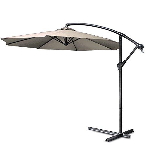 Foot Shade Patio Umbrella (Flexzion Patio Offset Umbrella 10' feet Beige Hanging Folding Sun Shade Crank Canopy With Cross Base Crank for Outdoor Market Garden Lawn Yard Beach Pool Side Furniture)