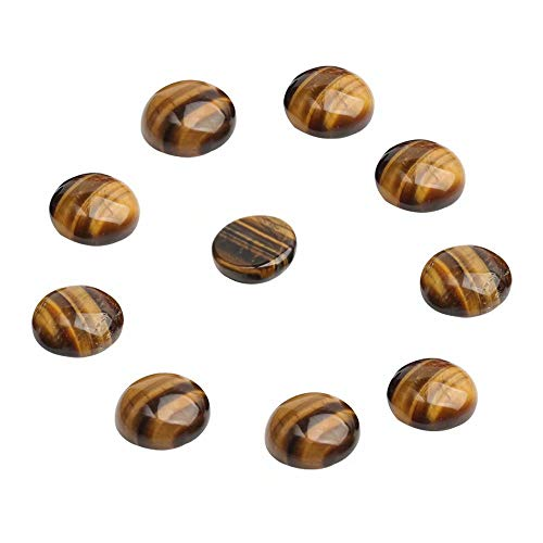 Large Stone Cabochons for Jewelry Making Natural Tiger Eye 25mm Flat Back Round Dome Cabochon Sold by 12 Pcs (No Hole)
