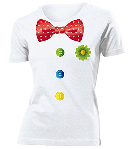 Karnevalskostüm - Faschingskostüm - Halloween - CLOWN KOSTÜM mujer camiseta Tamaño S to XXL varios colores Blanco