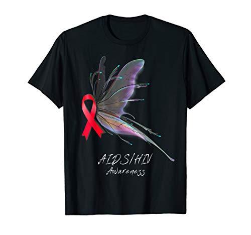 AIDS/HIV Awareness Shirt - butterfly T-Shirt