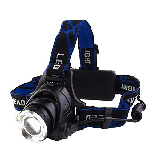 ERUN LEDヘッドライト ヘッドランプ 超高輝度 1200ルーメン ズーム機能付き 点灯3灯モード 超軽量 防水防塵 90°角度調節可能 軽量型 夜釣り灯 工事 作業 アウトドアに適用