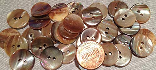 8 PCS ONLY Brown Tan Beige Curved Natural Shell MOP Buttons 9/16'' 15MM # 7782