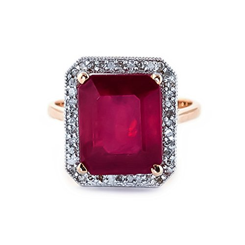 7.45 Carat 14K Solid White Rose Yellow Gold Emerald Cut Ruby Halo Design with Natural Diamond Ring 4894 (Rose-Gold, 9.5) by Galaxy Gold (Image #1)