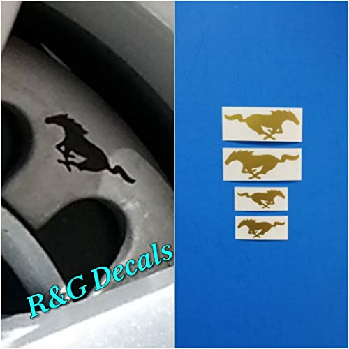 R&G Pony Brake Caliper HIGH TEMP Decal Sticker Set of 4 Decals + Instruction and Decal Surface Preparation Solution (Gold)