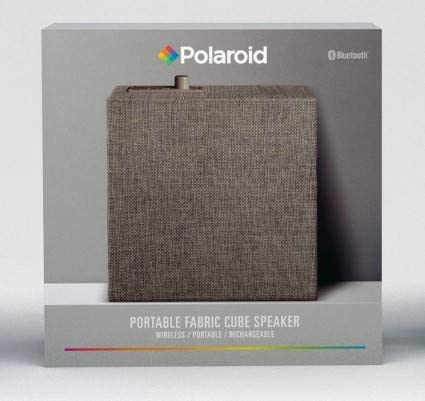 Add Powerful Sound and Ambiance to Any Room Polaroid Portable Fabric Cube Speaker Grey