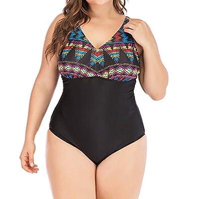 Summer Plus Size Beachwear for Women's Floral Print Tummy Control Push Up Onepiece Bikini Sets