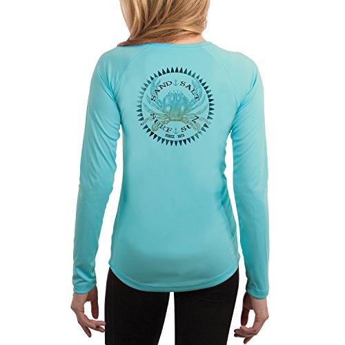 Vintage Crab Women's UPF 50+ Long Sleeve T-Shirt Medium Water Blue ()