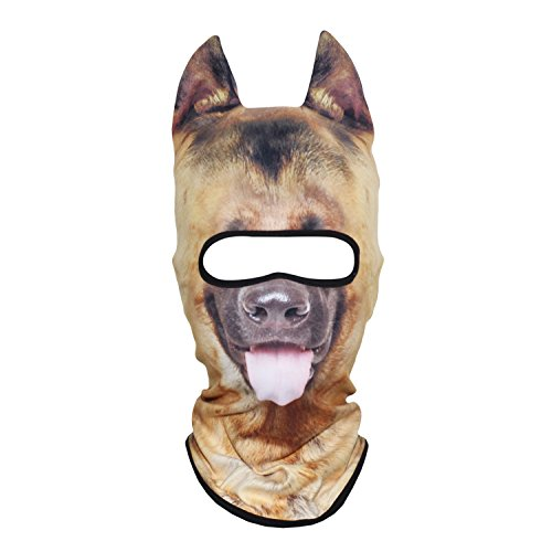 AXBXCX 3D Animal Ears Fleece Thermal Neck Warmer Windproof Hood Cover Face Mask Protection for Ski Snowboard Snowmobile Halloween Winter Cold Weather German Shepherd MDD-11 -