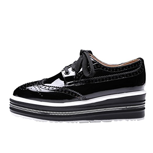 YOUJIA Womens Faux Leather Flatform Creepers Flat Loafers Low Wedge Slip On School Shoes Platform Chunky Brogue Lace-up Flats Black 9Te4DfnKlP