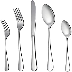 LIANYU 20-Piece Silverware Flatware Cutlery Set, Stainless Steel Utensils Service for 4, Include Knife/Fork/Spoon, Mirror Polished, Dishwasher Safe