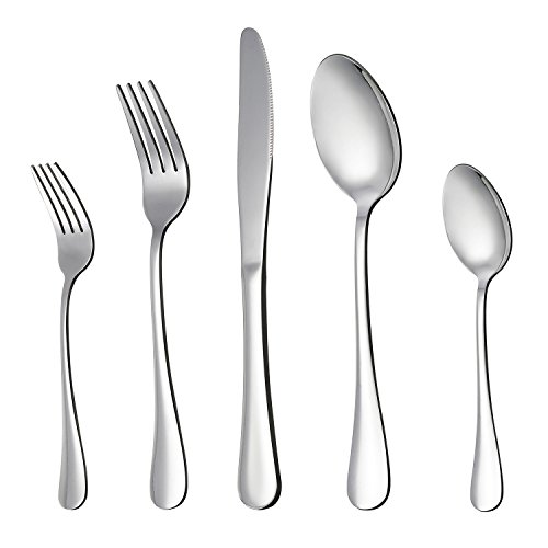 Satin Sand Dune Dinner - LIANYU 20-Piece Silverware Flatware Cutlery Set, Stainless Steel Utensils Service for 4, Include Knife/Fork/Spoon, Mirror Polished , Dishwasher Safe