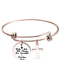 WUSUANED with God All Things are Possible Infinity Cross Necklace Bracelet Religious Jewelry Inspirational Gift