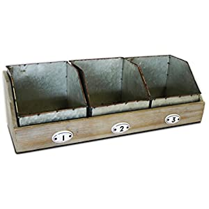Metal and Wooden Organizer, 20 inches with Three Galvanized Storage Drawers for Counter, Desk, or Shelf
